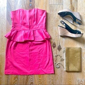 3/$30 NEW LOOK Coral Peplum Strapless dress Size 6
